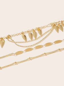 Golden 3pcs Leaf Charm Layered Alloy Chain Anklet