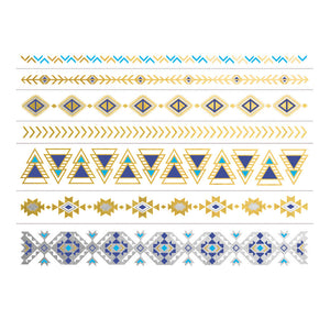 Gold And Silver Native Metallic Aztec Temporary Tattoo Bracelets Set