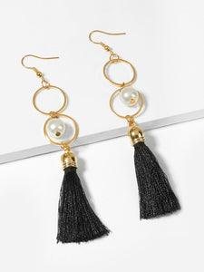 Golden Layered Circle With Pearl And Black Tassel 1 Pair Dangle Earrings