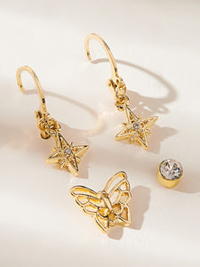 Golden Butterfly & Star Decor Mismatched Dangle Stud Earrings