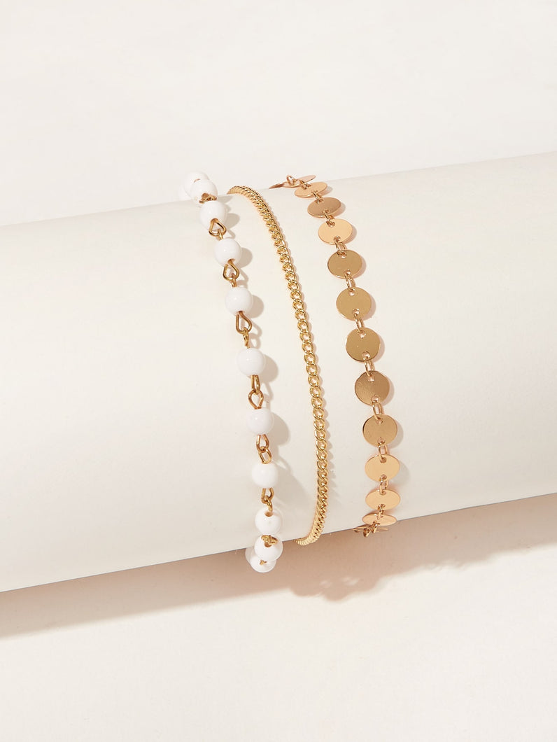 Double Layered Golden And White Beaded Chain 1pc Anklet