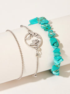 Silver Ring & Turquoise Decor 3pcs Chain Anklet