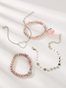 4pcs Multicolour Disc & Bead Silver Metal Bracelet