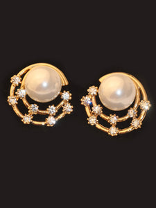 Goldn Faux Pearl 1pair Alloy Stud Earrings