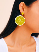 Load image into Gallery viewer, Yellow 1pair Lemon Shaped Drop Dangle Earrings