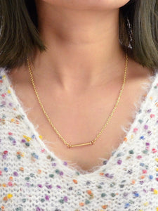Golden Bar Pendent Gold Plated Lariats Necklace