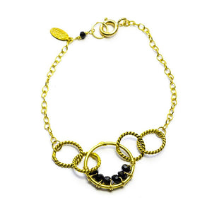 "Twisted Links With Faceted Spinel 8"" Gold Delicate Bracelet"