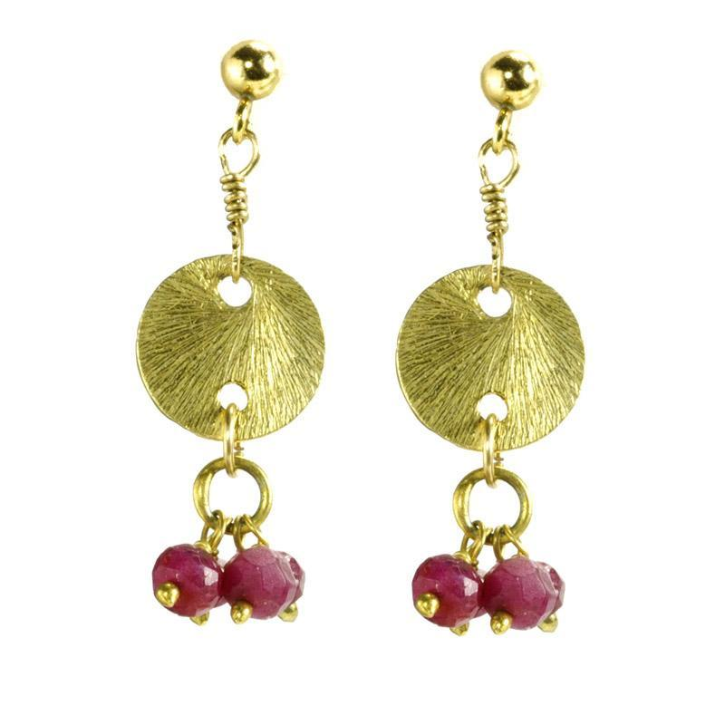 Ruby Charms With Vermeil Disk Dangle Gold Earrings