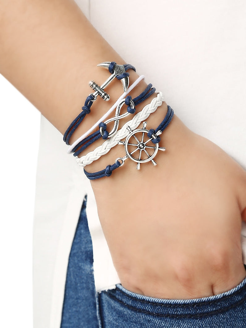 Multicolor Braid Anchors Silver Metal Link Bracelet