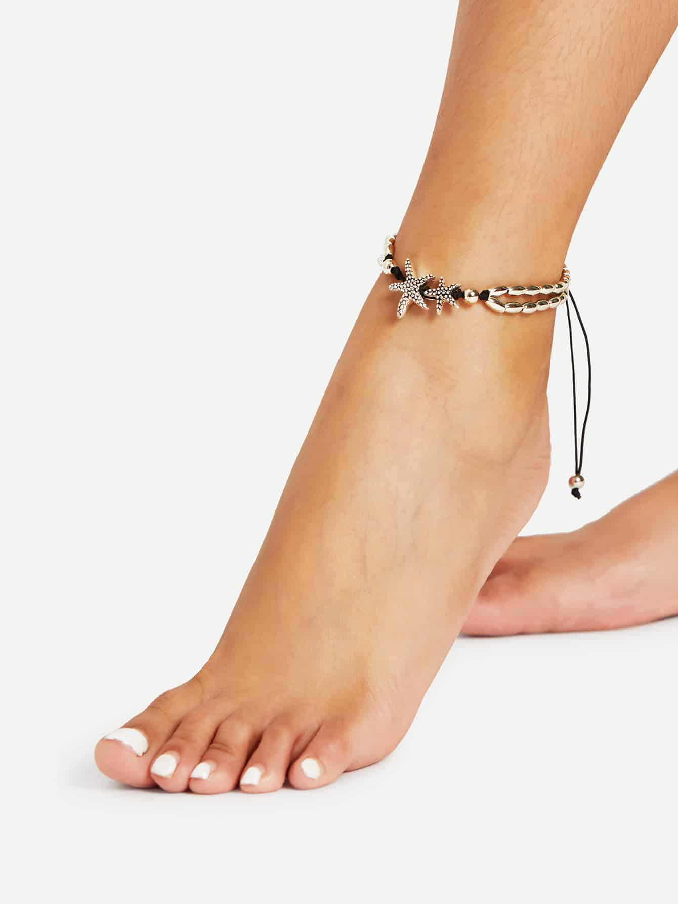 Golden Starfish Detail Adjustable Anklet