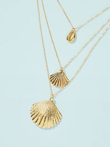 Golden 1pc Shell Charm Layered Metal Chain Pendant Necklace