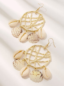 Multicolor Dreamcatcher Design 1pair Hoop Dangle Earrings With Seashell Charm