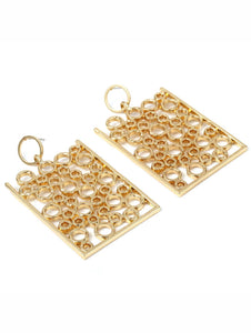 Golden 1pair Hollow Rectangle Metal Drop Dangle Earrings