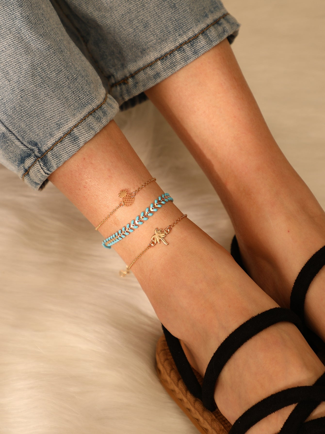 Multicolor 3pcs Pineapple & Tree Detail Chain Anklet
