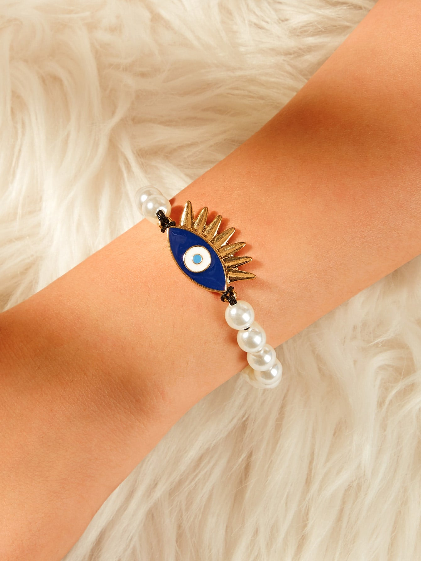 Multicolored Eye Charm With White Beaded 1pc Adjustable Bracelet