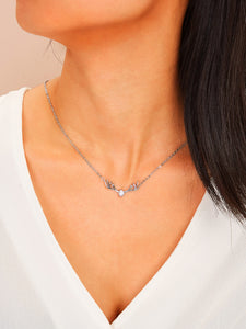 1pc Grey Deer Pendant Silver Chain Necklace