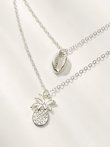 1pc Grey Double Layered Shell & Pineapple Pendant Necklace