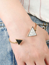 Load image into Gallery viewer, 1pc Golden Two Tone Triangle Cuff Bracelet