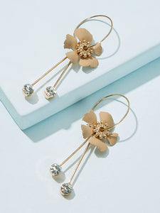 1pair Golden Rhinestone Flower Detail Alloy Hoop Dangle Earrings