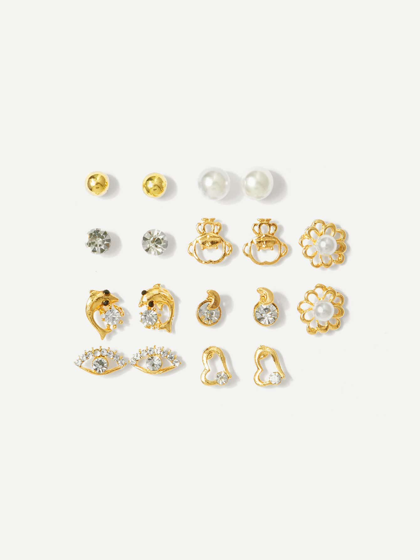 Golden With Pearl Dolphin & Heart Detail 9 Pairs Stud Earrings