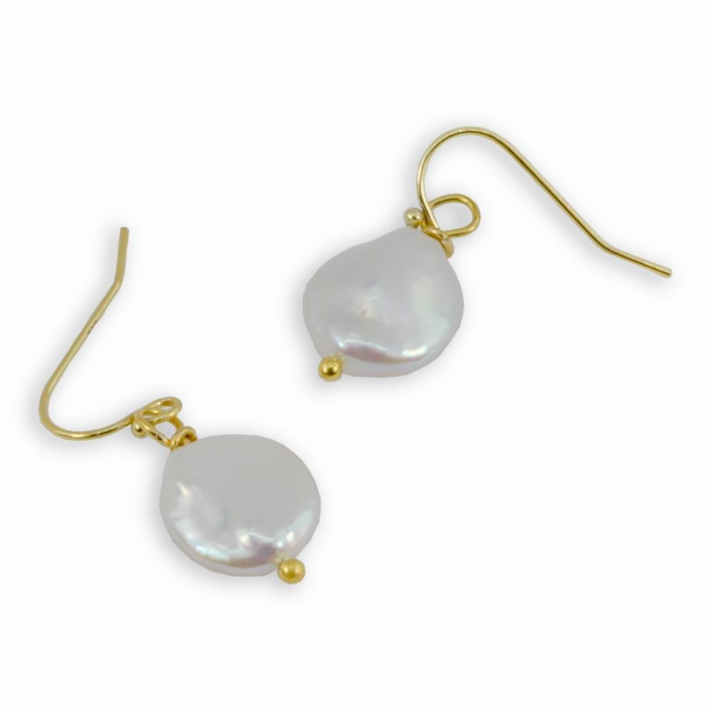 Sterling Silver Freshwater Coin Pearl Drop Earrings
