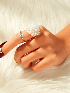 Rhinestone Cut-out Ring With Faux Pearl Golden 1pc