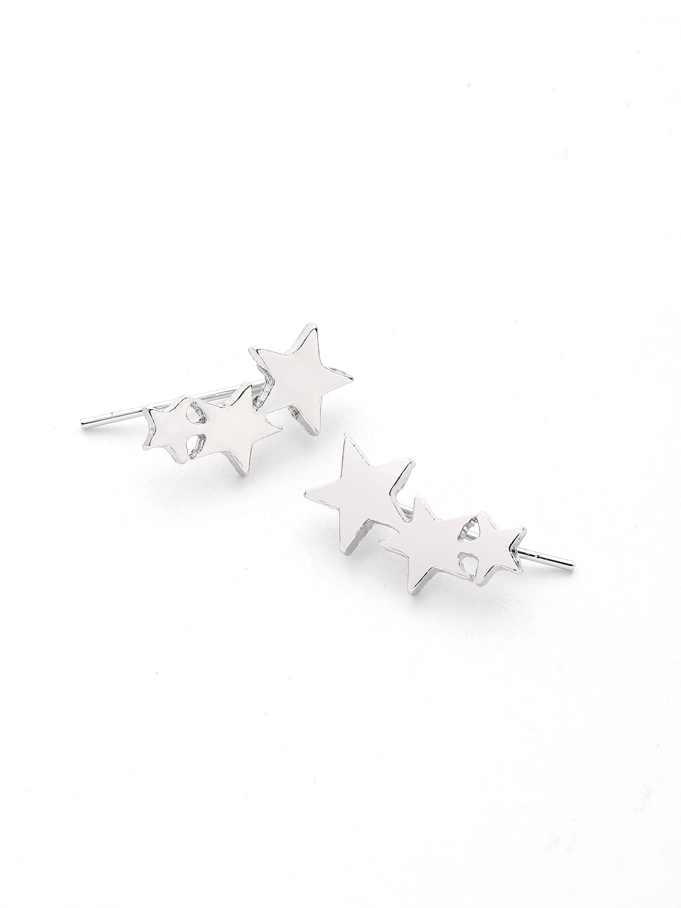 Silver Cute Star Metal Ear Crawler Stud