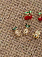 Load image into Gallery viewer, Multicolor Six Pairs Of Fruit Metal Stud Back Earrings
