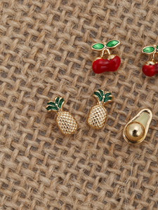 Multicolor Six Pairs Of Fruit Metal Stud Back Earrings