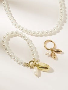 Golden Charm Pendent With White Faux Pearl Beaded 3pcs Necklace,Bracelet & Earring