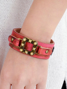 Red Pu Leather Wide Adjustable Bracelet
