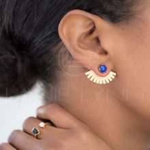 Load image into Gallery viewer, Egyptian Blue Lapis Lazuli Gold Plated Ear Jacket Earring