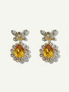 1pair Yellow Butterfly Rhinestone Gold Metal Drop Dangle Earrings