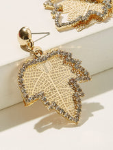 Load image into Gallery viewer, Gold Leaf Shaped Rhinestone Engraved & Hollow Out 1pair Drop Earrings