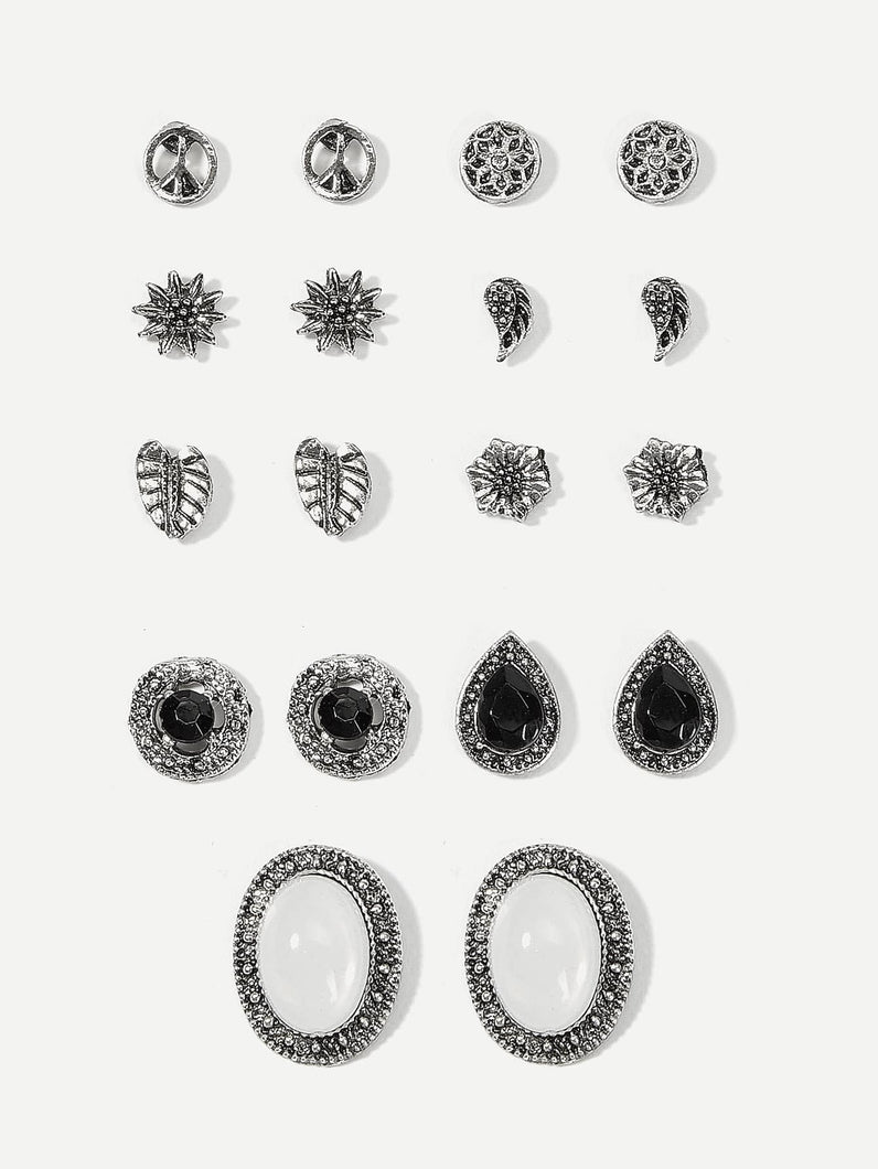 Grey 9pairs Leaf & Oval Gemstone Silver Stud Earrings