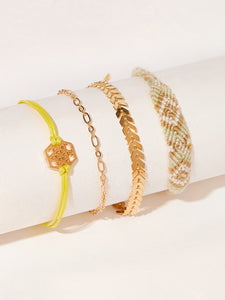 Multicolor 4pcs Geometric & Woven Detail Gold Link Bracelet