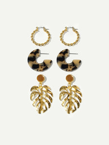 3 Pairs Black And Golden Spiral & Leaf Design Dangle/Hoop Earrings
