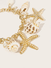 Load image into Gallery viewer, Golden 1pc Starfish & Seashell Charm Metal Link Chain Bracelet