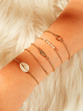 Load image into Gallery viewer, Golden 5pcs Leaf & Shell Pearls Chain Metallic Bracelet