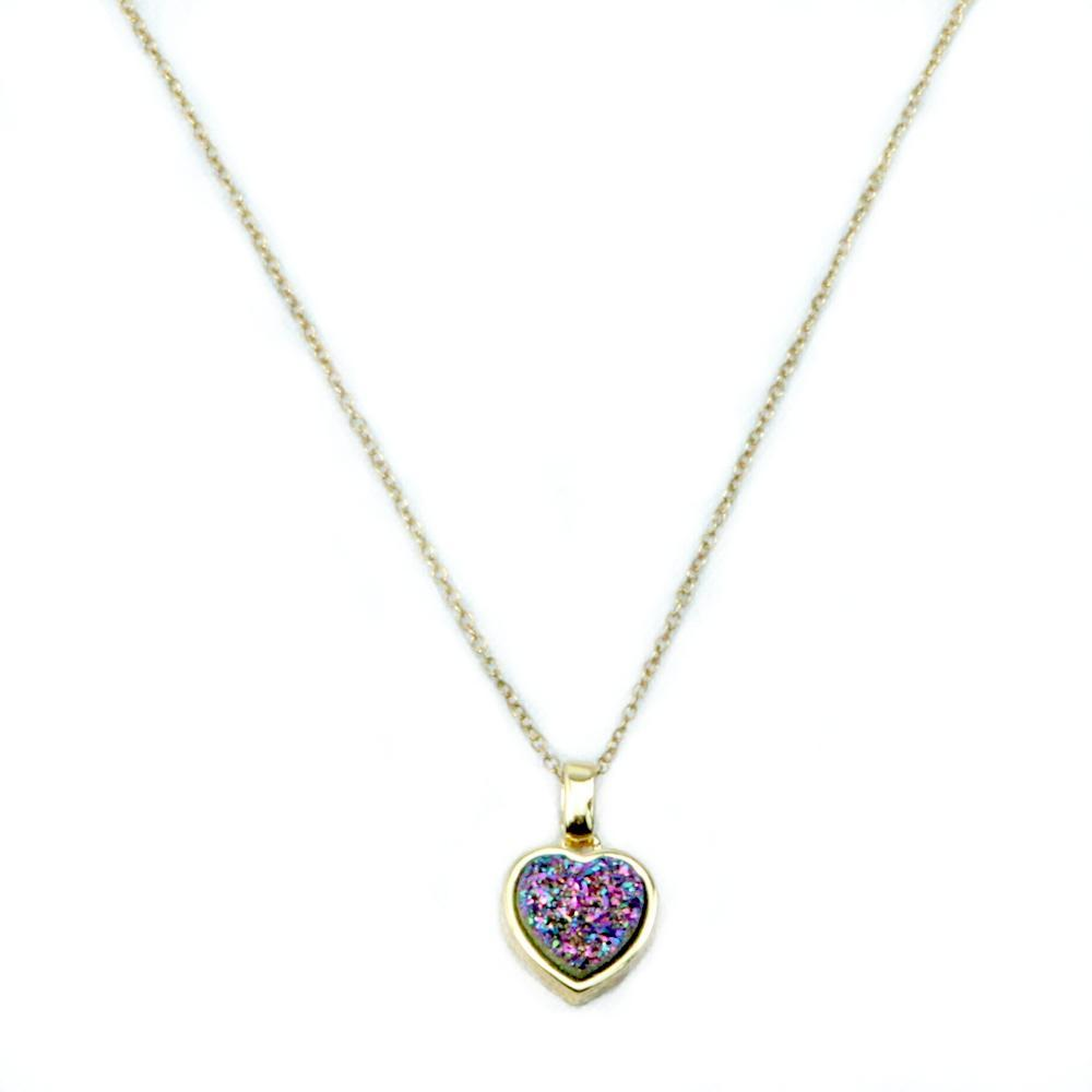 Multicolored Druzy Heart Necklace Chain In 14K Gold