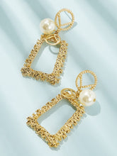 Load image into Gallery viewer, Golden Faux Pearl Decor 1pair Alloy Open Rectangle Hoop Earring
