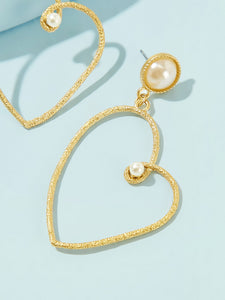 Golden Faux Pearl Decor 1pair Heart Shaped Hoop Dangle Earrings