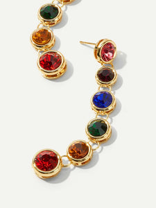 1pair Multicolor Rhinestone Gold Drop Dangle Earrings