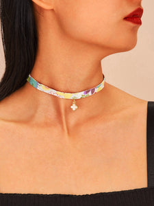 Multicolored Floral Print With Golden Clover Charm 1pc Choker