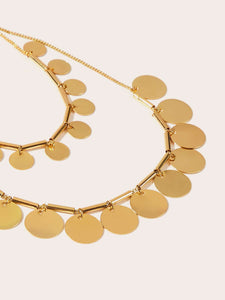 Golden Double Layered Disc Charm Chain 1pc Necklace