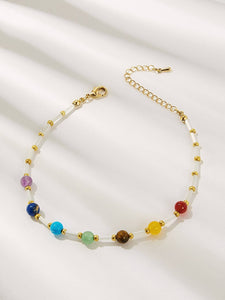 Multicolored Beaded Anklet 1pc