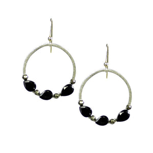 Rock-n-Roll Halo Nugget Silver Hoop Earrings With Spinel and Pyrite