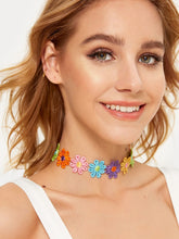 Load image into Gallery viewer, Multicolor 1pc Flower Embroidery Cotton Choker