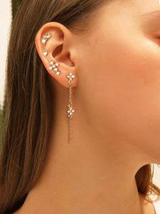 4pack Grey And White Rhinestone Engraved Golden Stud Earrings Set