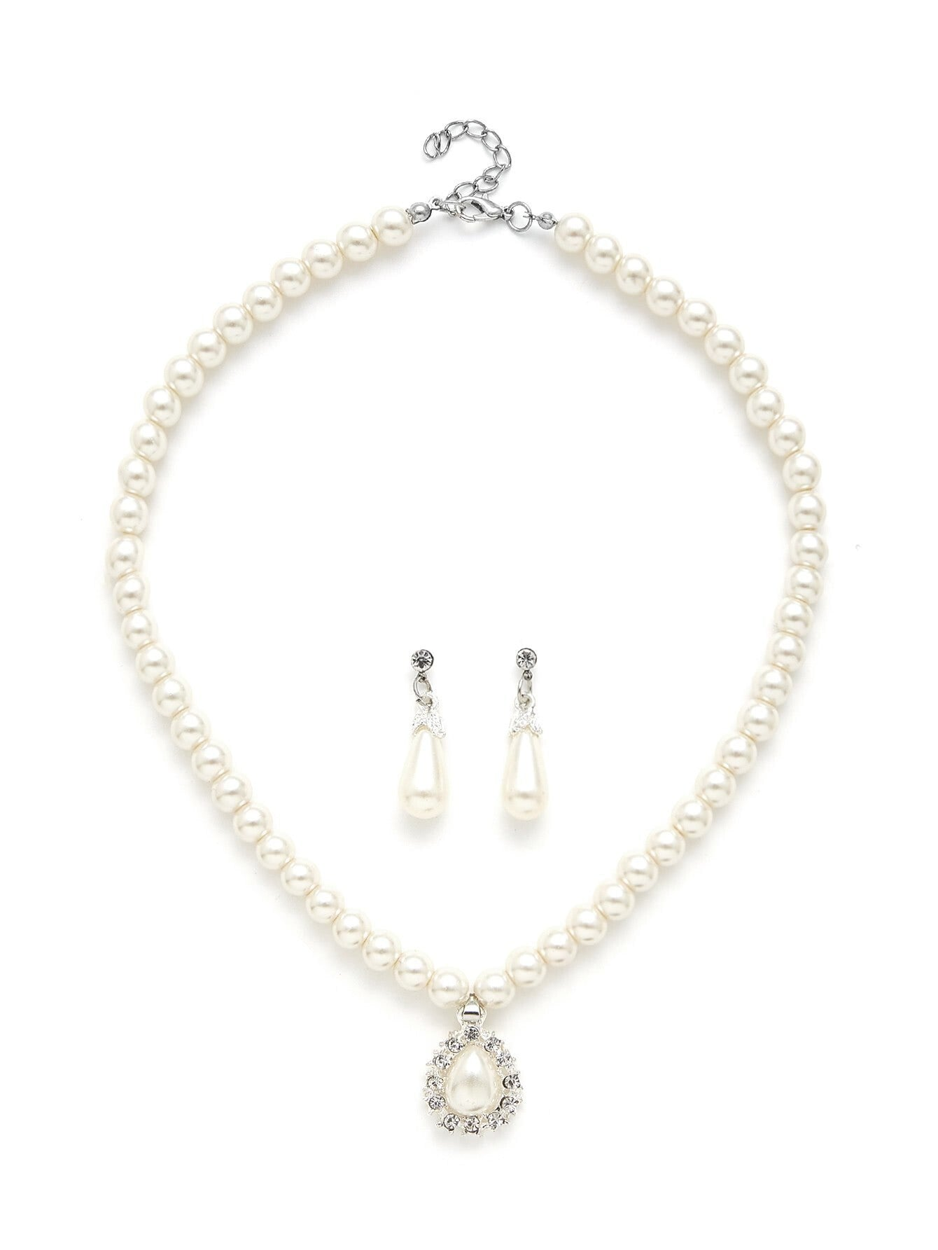 White Faux Pearl Water Drop Design Necklace & Earring Set